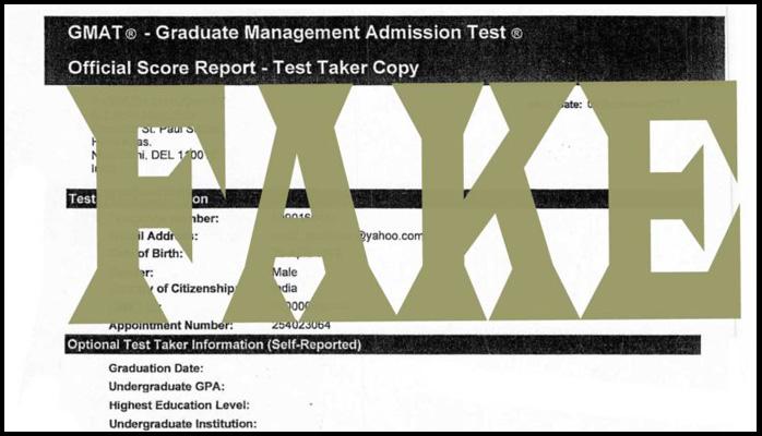 Fake GMAT score reports of private GMAT tutors in Delhi